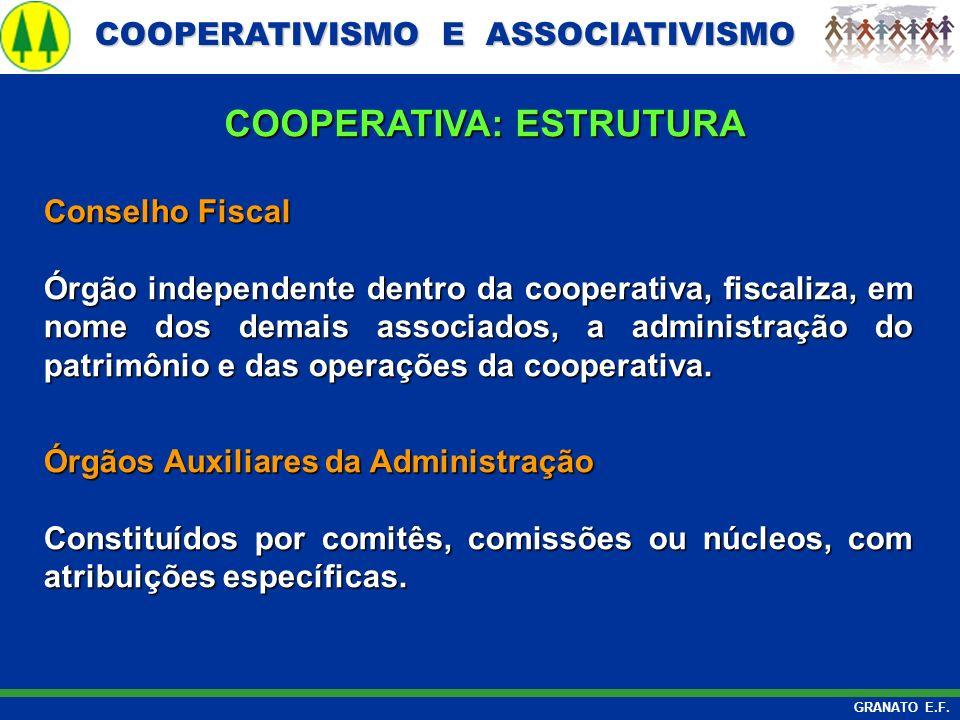 COOPERATIVISMO E ASSOCIATIVISMO COOPERATIVISMO E ASSOCIATIVISMO GRANATO E.F. Conselho Fiscal Conselho Fiscal Órgão independente dentro da cooperativa,