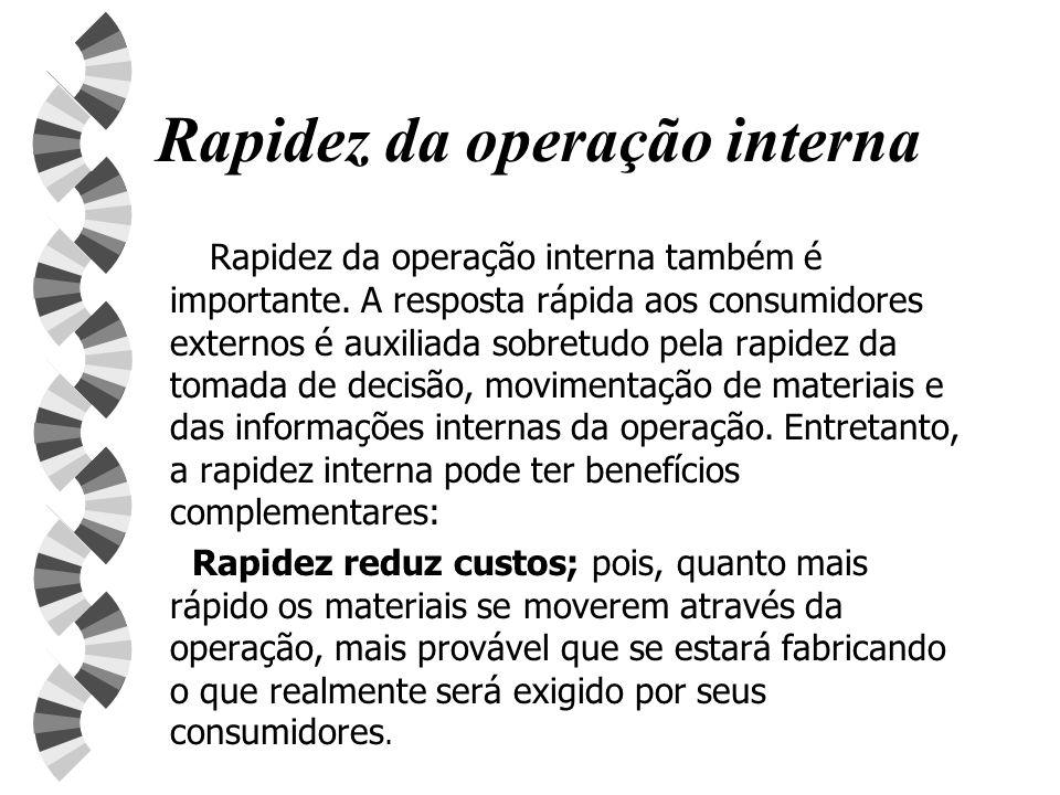 Rapidez da operação interna Rapidez da operação interna também é importante. A resposta rápida aos consumidores externos é auxiliada sobretudo pela ra