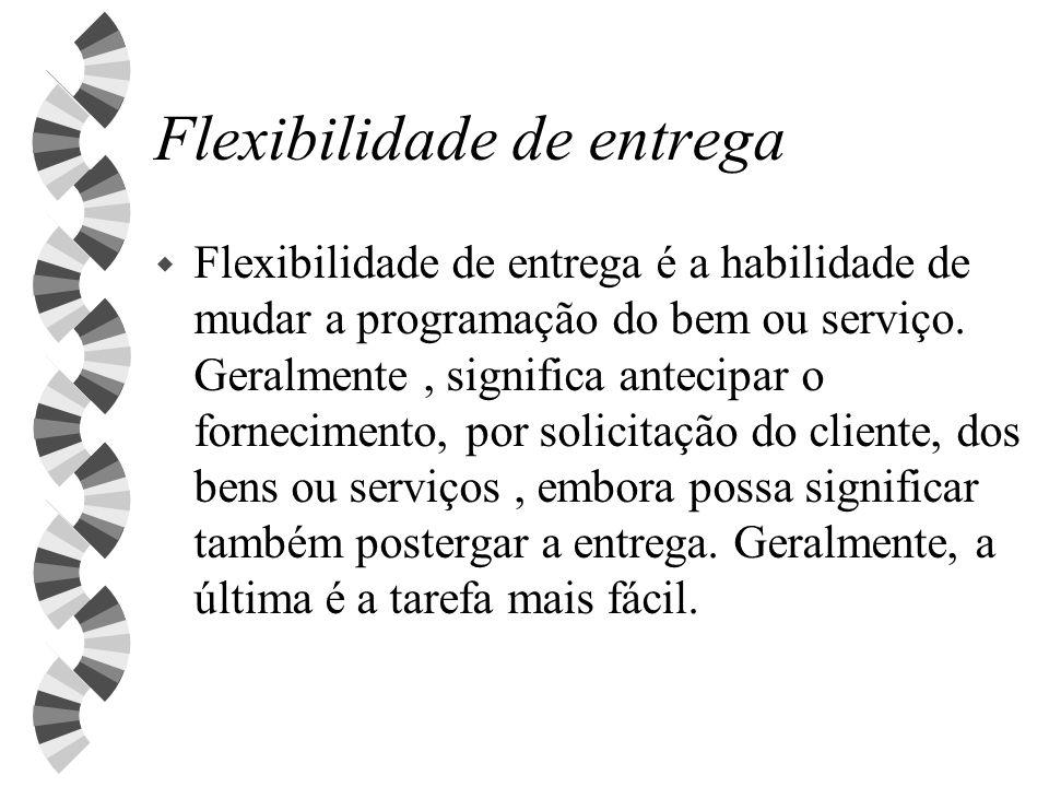 Flexibilidade de entrega w Flexibilidade de entrega é a habilidade de mudar a programação do bem ou serviço. Geralmente, significa antecipar o forneci