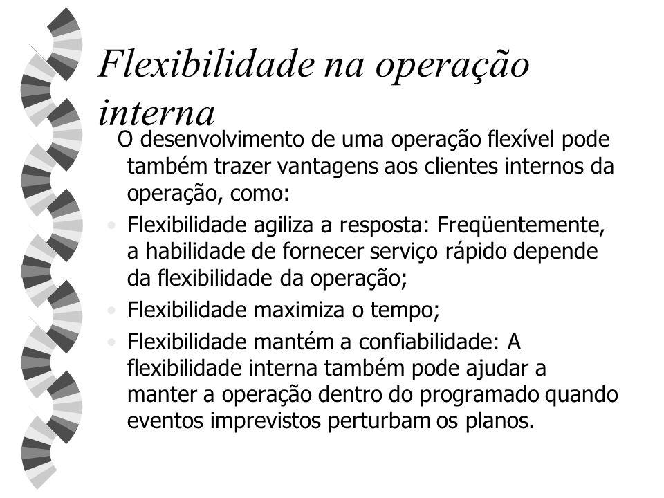 Flexibilidade na operação interna O desenvolvimento de uma operação flexível pode também trazer vantagens aos clientes internos da operação, como: Fle