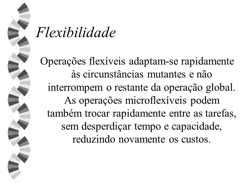 Flexibilidade Operações flexíveis adaptam-se rapidamente às circunstâncias mutantes e não interrompem o restante da operação global. As operações micr