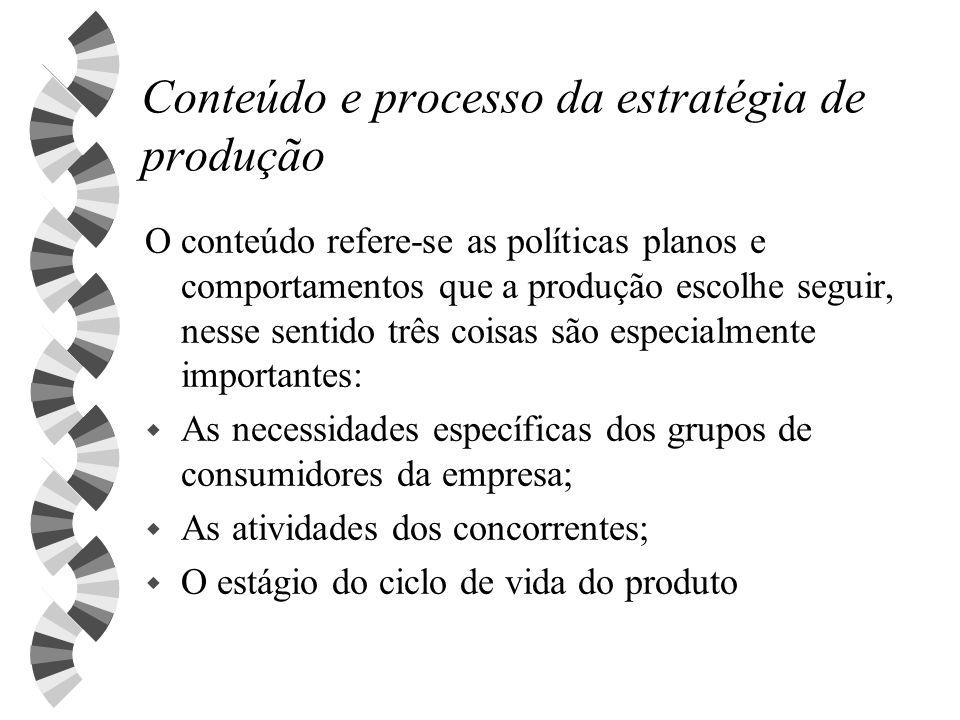 Conteúdo e processo da estratégia de produção O conteúdo refere-se as políticas planos e comportamentos que a produção escolhe seguir, nesse sentido t