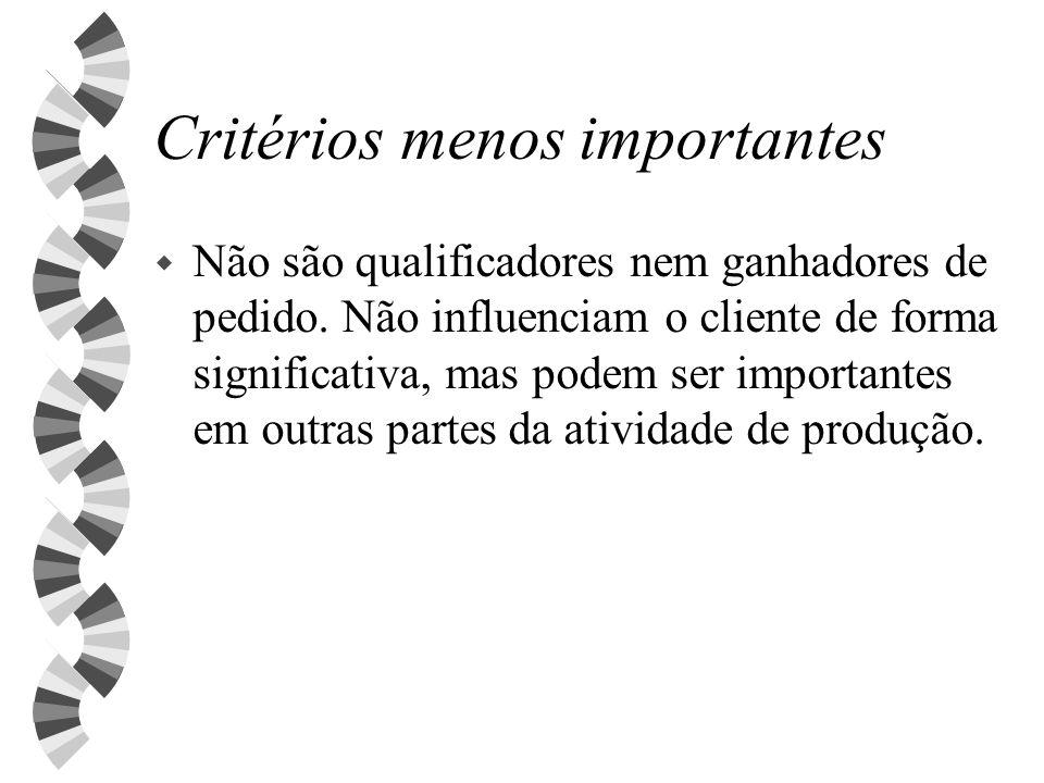Critérios menos importantes w Não são qualificadores nem ganhadores de pedido. Não influenciam o cliente de forma significativa, mas podem ser importa