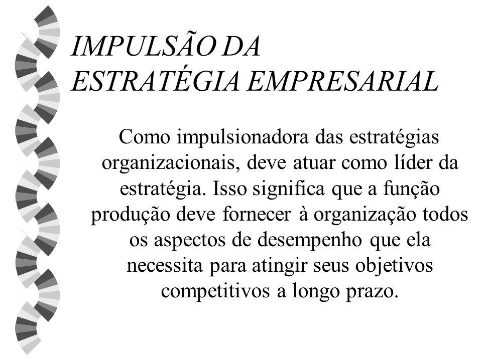 IMPULSÃO DA ESTRATÉGIA EMPRESARIAL Como impulsionadora das estratégias organizacionais, deve atuar como líder da estratégia. Isso significa que a funç