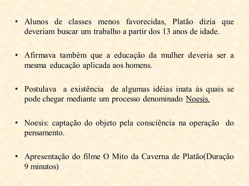 Alunos de classes menos favorecidas, Platão dizia que deveriam buscar um trabalho a partir dos 13 anos de idade. Afirmava também que a educação da mul