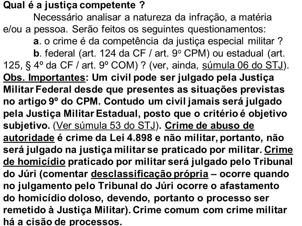 Qual é a justiça competente ? Necessário analisar a natureza da infração, a matéria e/ou a pessoa. Serão feitos os seguintes questionamentos: a. o cri