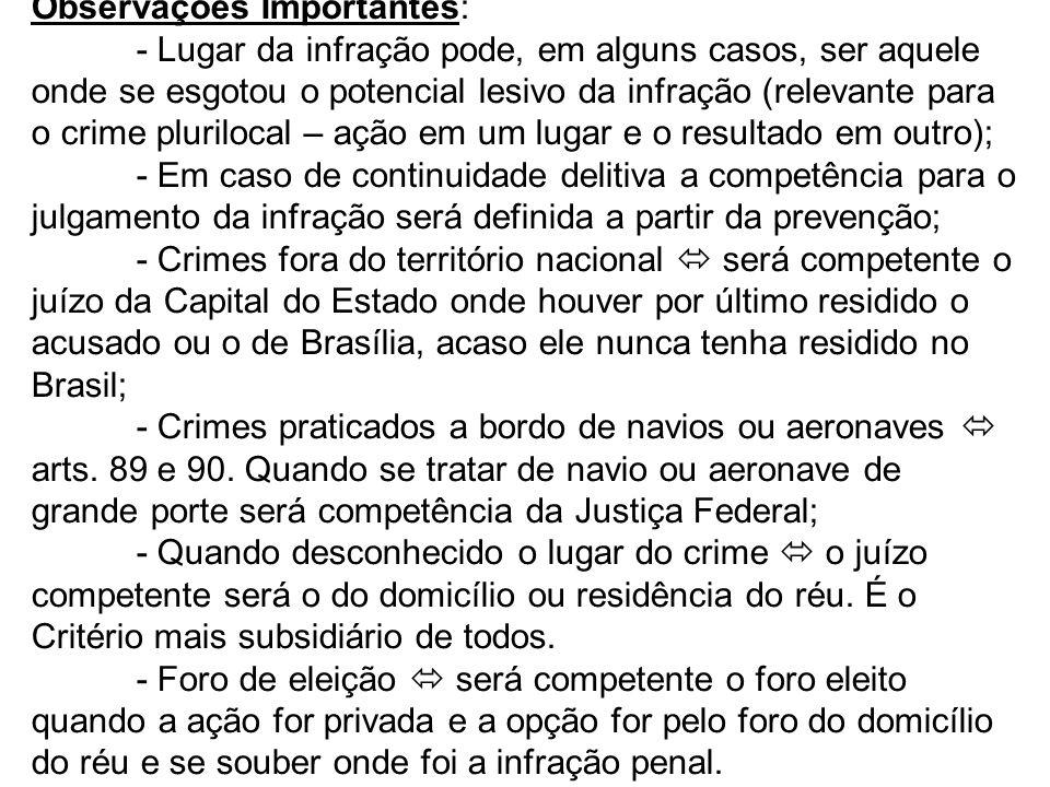 Observações Importantes: - Lugar da infração pode, em alguns casos, ser aquele onde se esgotou o potencial lesivo da infração (relevante para o crime