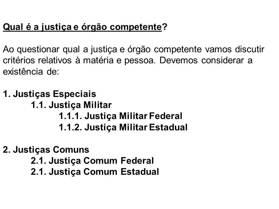 Qual é a justiça e órgão competente? Ao questionar qual a justiça e órgão competente vamos discutir critérios relativos à matéria e pessoa. Devemos co