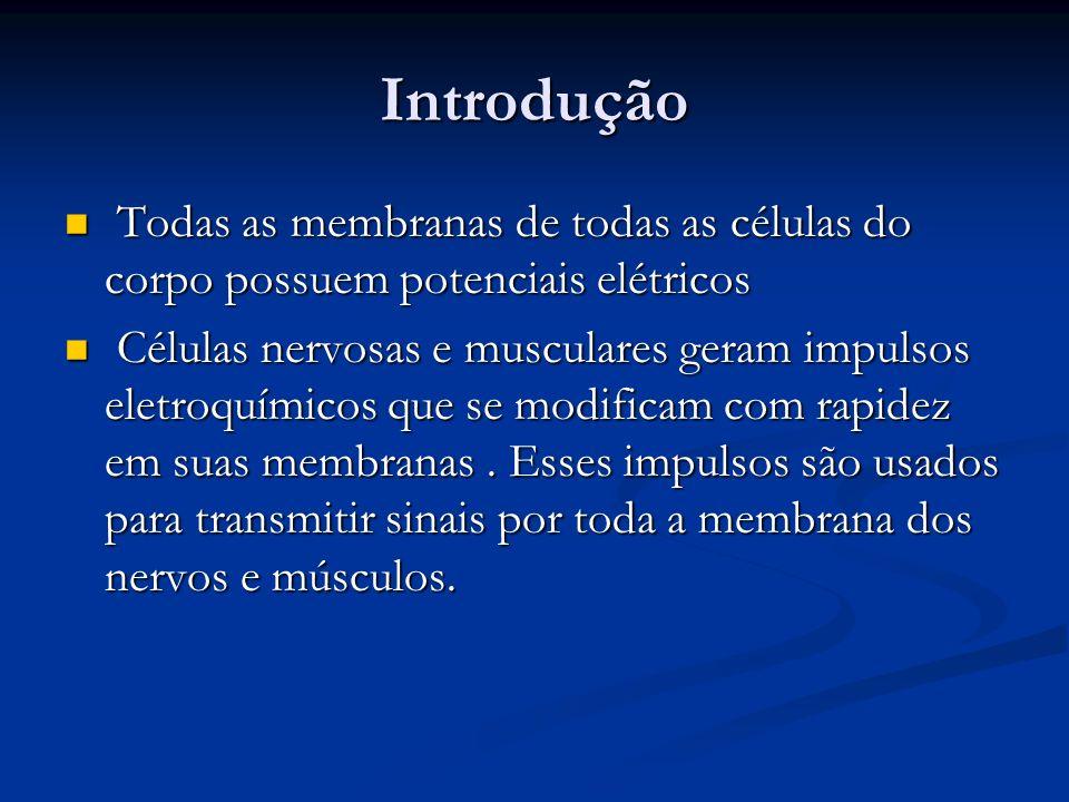 Introdução Todas as membranas de todas as células do corpo possuem potenciais elétricos Todas as membranas de todas as células do corpo possuem potenc