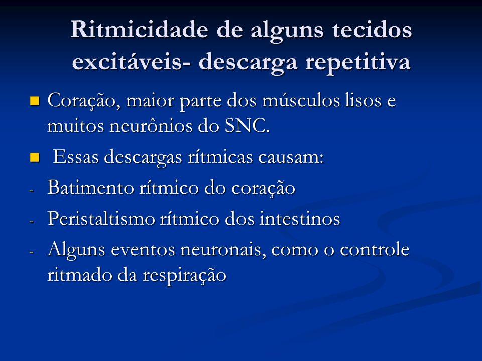 Ritmicidade de alguns tecidos excitáveis- descarga repetitiva Coração, maior parte dos músculos lisos e muitos neurônios do SNC. Coração, maior parte