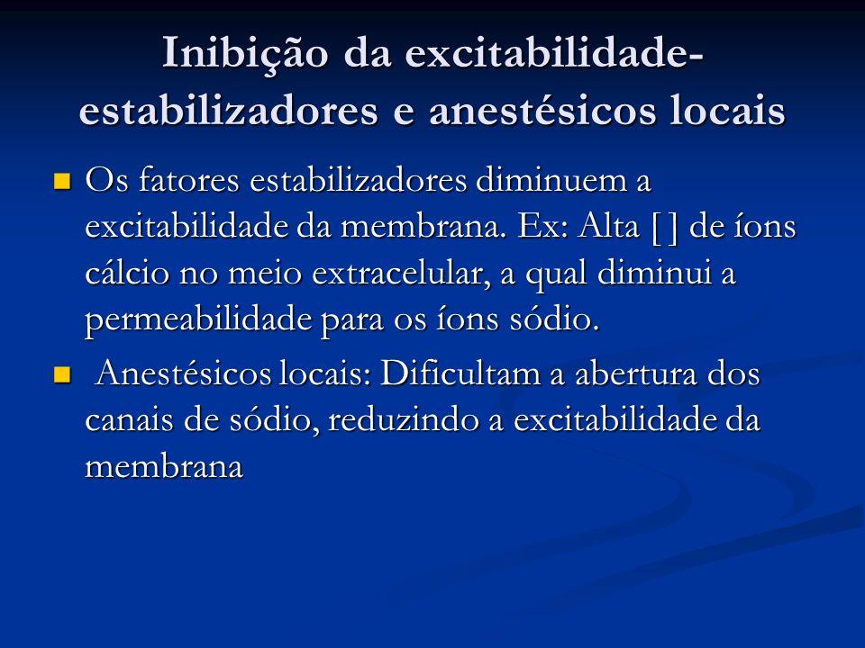 Inibição da excitabilidade- estabilizadores e anestésicos locais Os fatores estabilizadores diminuem a excitabilidade da membrana. Ex: Alta [ ] de íon