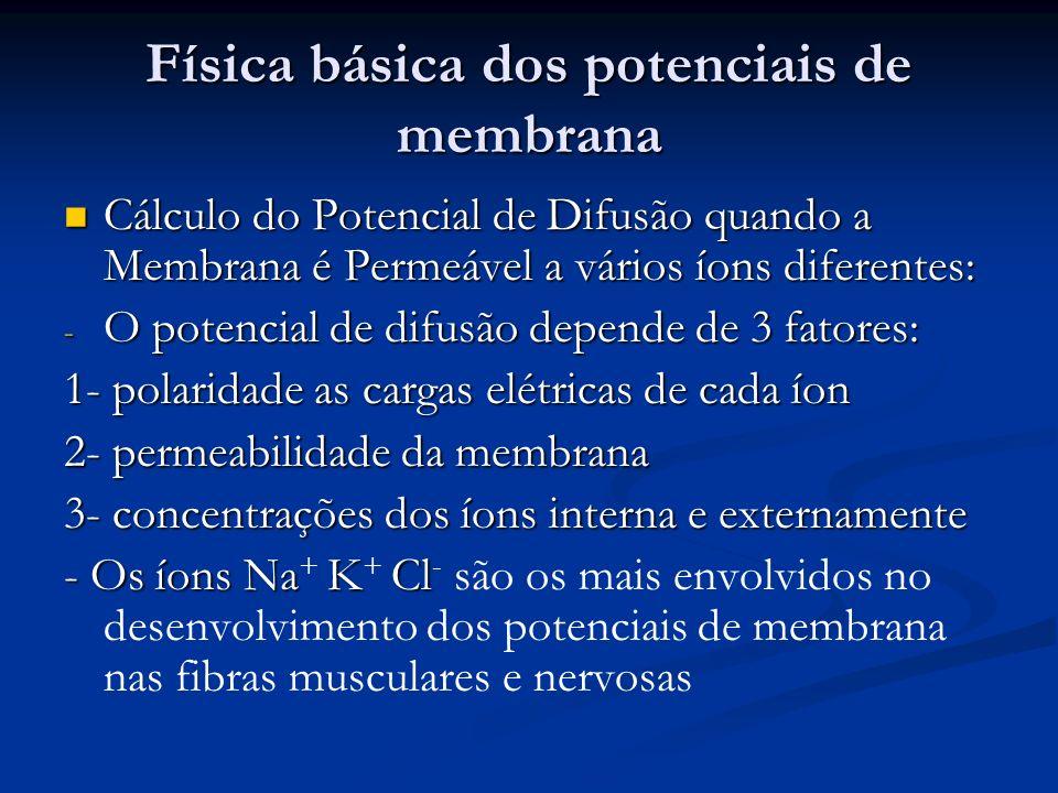 Física básica dos potenciais de membrana Cálculo do Potencial de Difusão quando a Membrana é Permeável a vários íons diferentes: Cálculo do Potencial