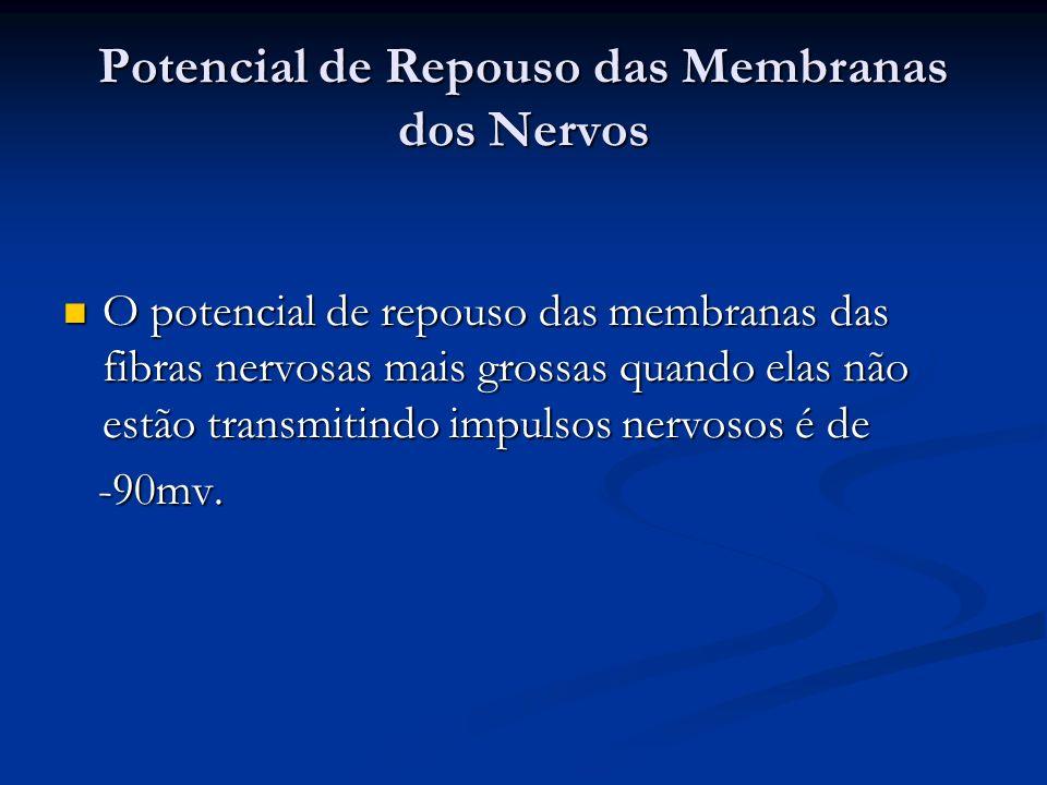 Potencial de Repouso das Membranas dos Nervos O potencial de repouso das membranas das fibras nervosas mais grossas quando elas não estão transmitindo