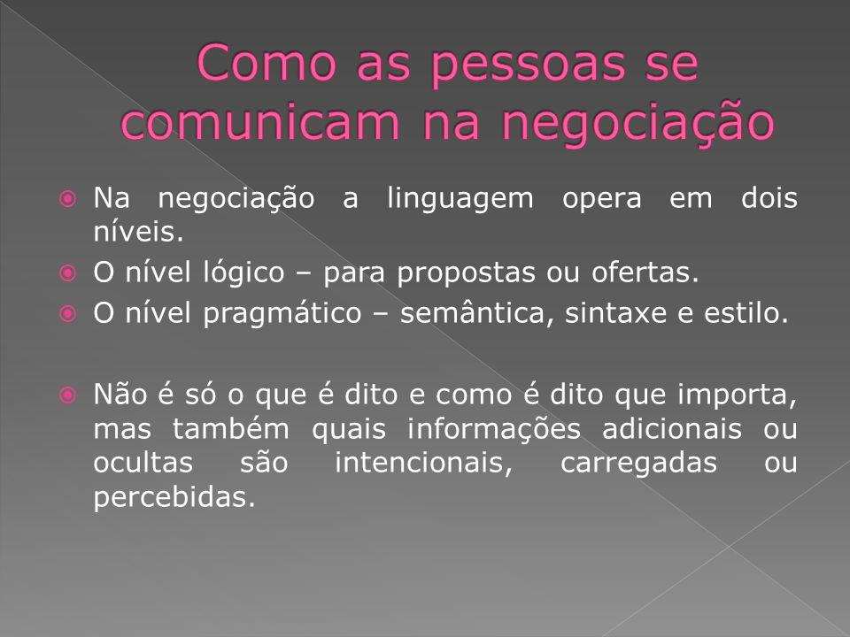 Na negociação a linguagem opera em dois níveis. O nível lógico – para propostas ou ofertas. O nível pragmático – semântica, sintaxe e estilo. Não é só