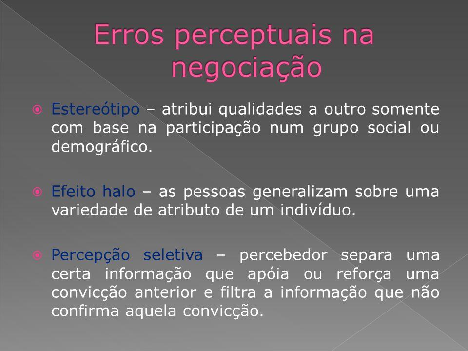 Estereótipo – atribui qualidades a outro somente com base na participação num grupo social ou demográfico. Efeito halo – as pessoas generalizam sobre
