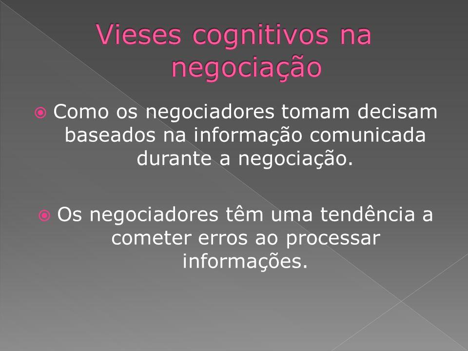 Como os negociadores tomam decisam baseados na informação comunicada durante a negociação. Os negociadores têm uma tendência a cometer erros ao proces