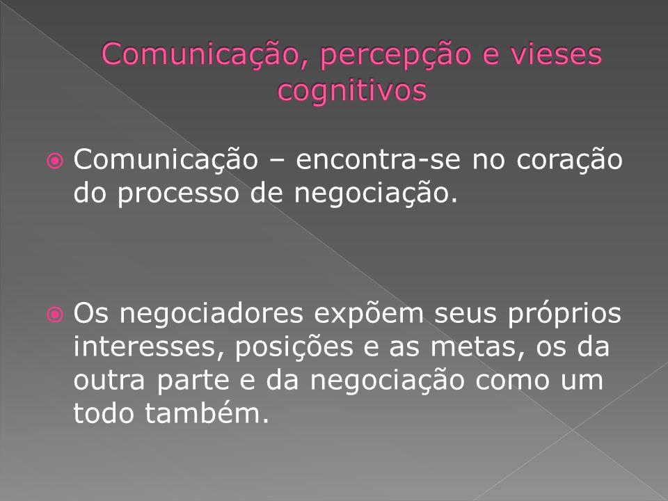 Comunicação – encontra-se no coração do processo de negociação. Os negociadores expõem seus próprios interesses, posições e as metas, os da outra part
