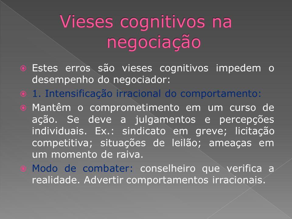 Estes erros são vieses cognitivos impedem o desempenho do negociador: 1. Intensificação irracional do comportamento: Mantêm o comprometimento em um cu