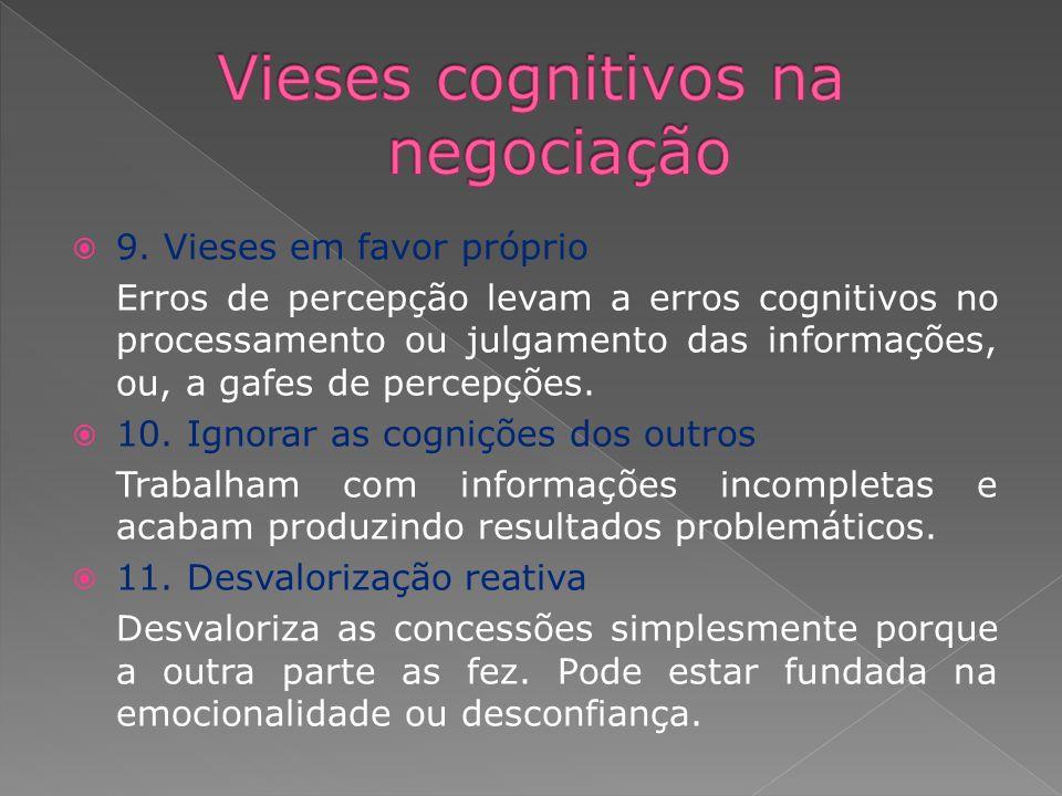 9. Vieses em favor próprio Erros de percepção levam a erros cognitivos no processamento ou julgamento das informações, ou, a gafes de percepções. 10.