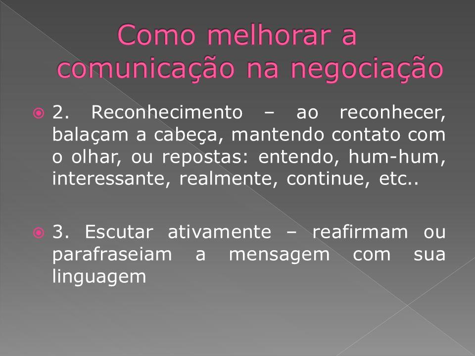 2. Reconhecimento – ao reconhecer, balaçam a cabeça, mantendo contato com o olhar, ou repostas: entendo, hum-hum, interessante, realmente, continue, e