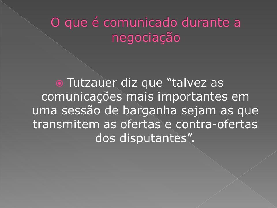 Tutzauer diz que talvez as comunicações mais importantes em uma sessão de barganha sejam as que transmitem as ofertas e contra-ofertas dos disputantes