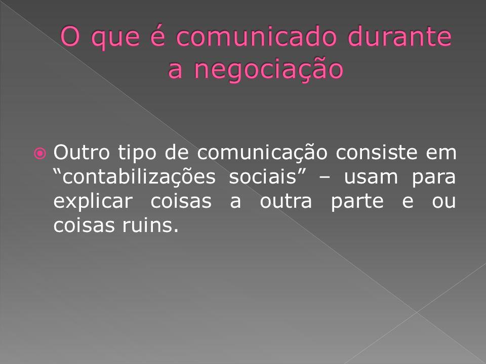 Outro tipo de comunicação consiste em contabilizações sociais – usam para explicar coisas a outra parte e ou coisas ruins.
