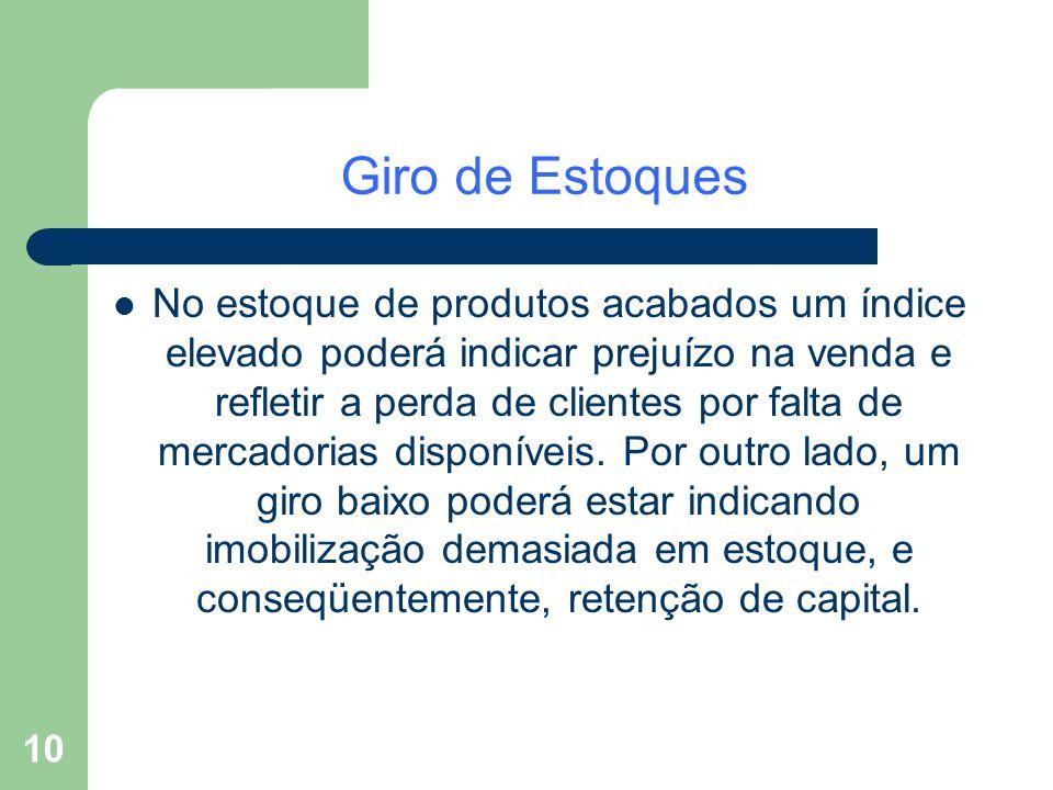 10 Giro de Estoques No estoque de produtos acabados um índice elevado poderá indicar prejuízo na venda e refletir a perda de clientes por falta de mer