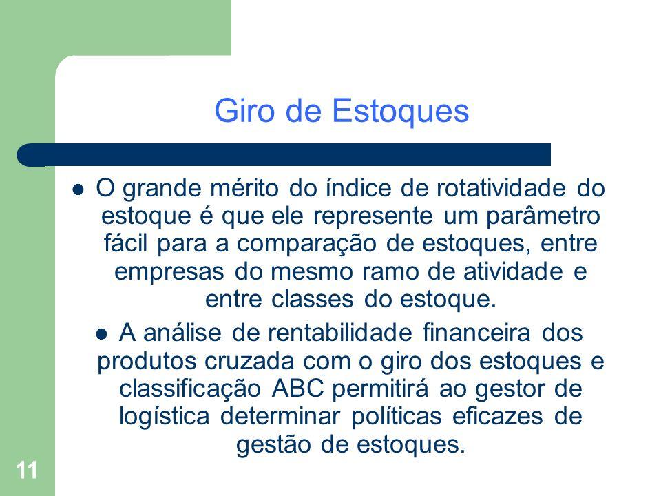 11 Giro de Estoques O grande mérito do índice de rotatividade do estoque é que ele represente um parâmetro fácil para a comparação de estoques, entre