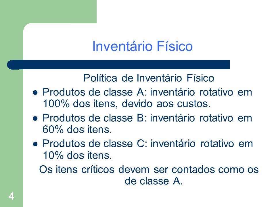 4 Inventário Físico Política de Inventário Físico Produtos de classe A: inventário rotativo em 100% dos itens, devido aos custos. Produtos de classe B