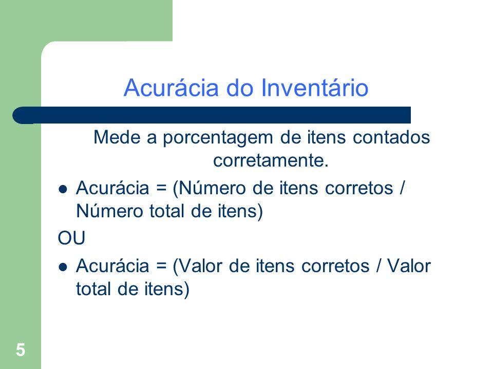 5 Acurácia do Inventário Mede a porcentagem de itens contados corretamente. Acurácia = (Número de itens corretos / Número total de itens) OU Acurácia