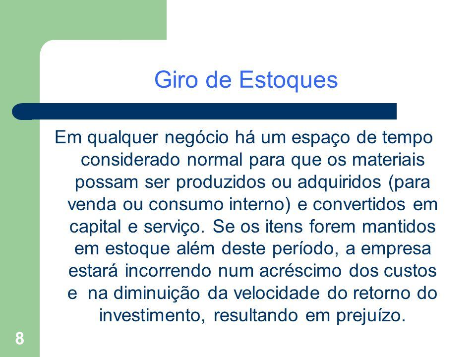 8 Giro de Estoques Em qualquer negócio há um espaço de tempo considerado normal para que os materiais possam ser produzidos ou adquiridos (para venda