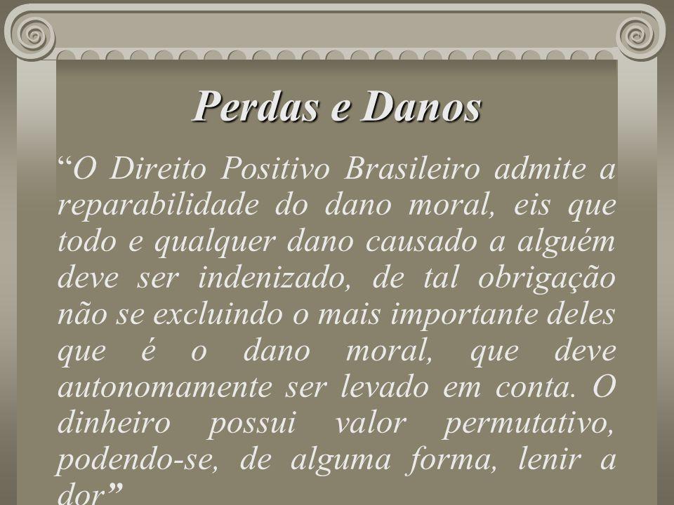 Perdas e Danos O Direito Positivo Brasileiro admite a reparabilidade do dano moral, eis que todo e qualquer dano causado a alguém deve ser indenizado,