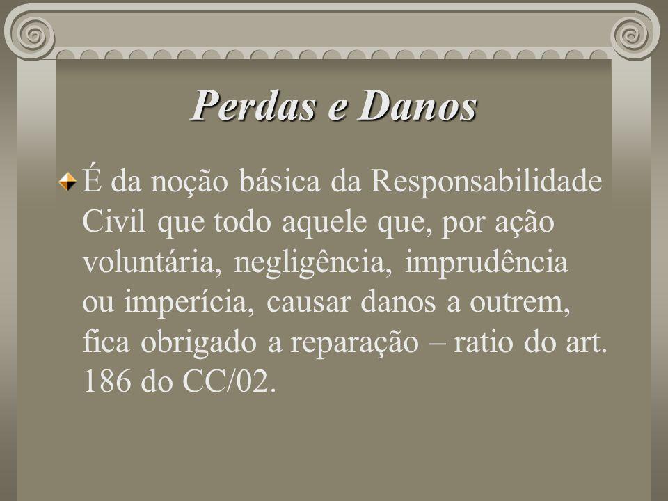 Perdas e Danos É da noção básica da Responsabilidade Civil que todo aquele que, por ação voluntária, negligência, imprudência ou imperícia, causar dan