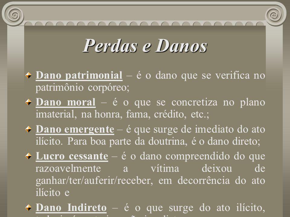 Perdas e Danos Dano patrimonial – é o dano que se verifica no patrimônio corpóreo; Dano moral – é o que se concretiza no plano imaterial, na honra, fa