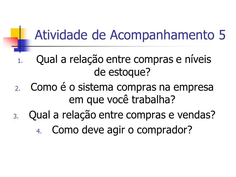 Atividade de Acompanhamento 5 1. Qual a relação entre compras e níveis de estoque? 2. Como é o sistema compras na empresa em que você trabalha? 3. Qua