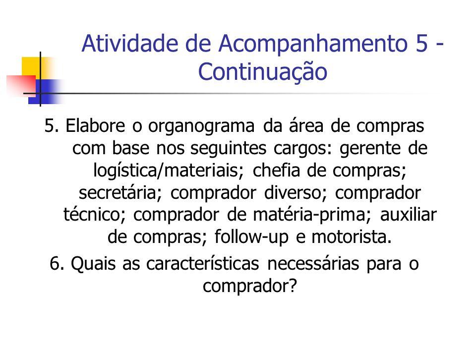 Atividade de Acompanhamento 5 - Continuação 5. Elabore o organograma da área de compras com base nos seguintes cargos: gerente de logística/materiais;