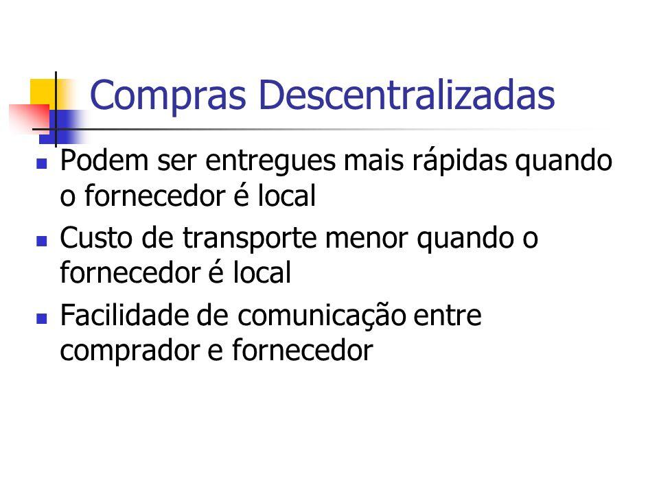 Compras Descentralizadas Podem ser entregues mais rápidas quando o fornecedor é local Custo de transporte menor quando o fornecedor é local Facilidade