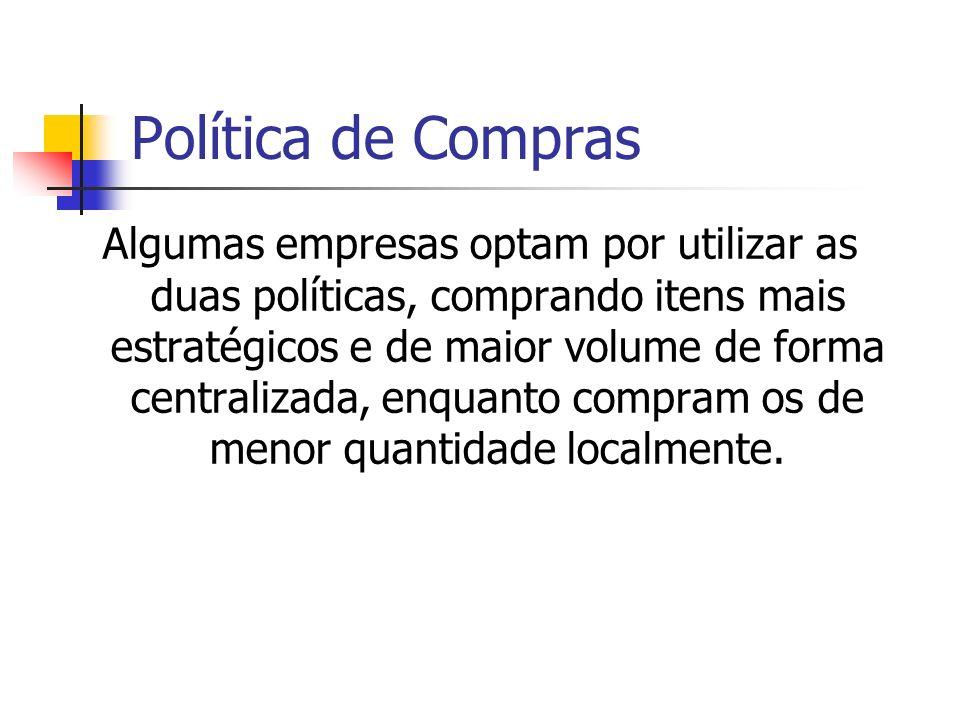 Política de Compras Algumas empresas optam por utilizar as duas políticas, comprando itens mais estratégicos e de maior volume de forma centralizada,