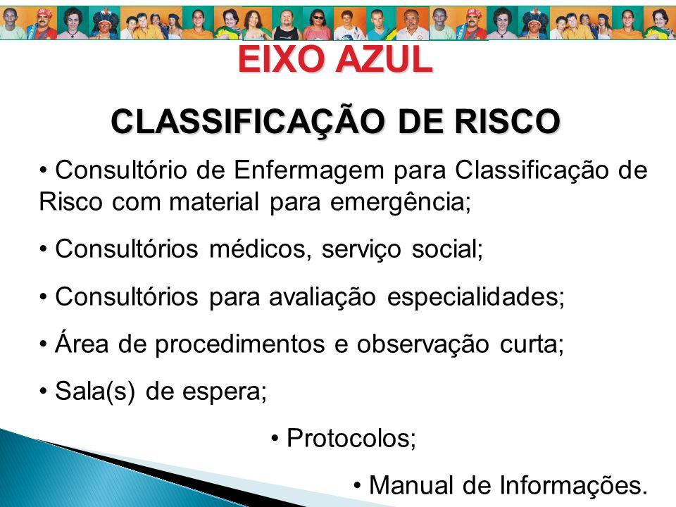 Consultório de Enfermagem para Classificação de Risco com material para emergência; Consultórios médicos, serviço social; Consultórios para avaliação