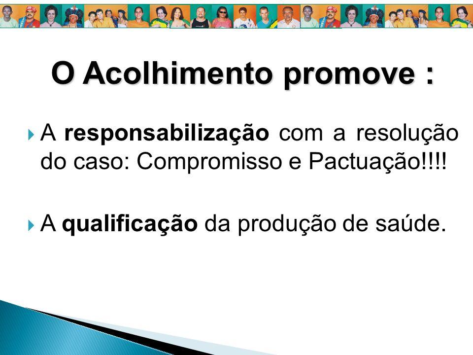 O Acolhimento promove : A responsabilização com a resolução do caso: Compromisso e Pactuação!!!! A qualificação da produção de saúde.