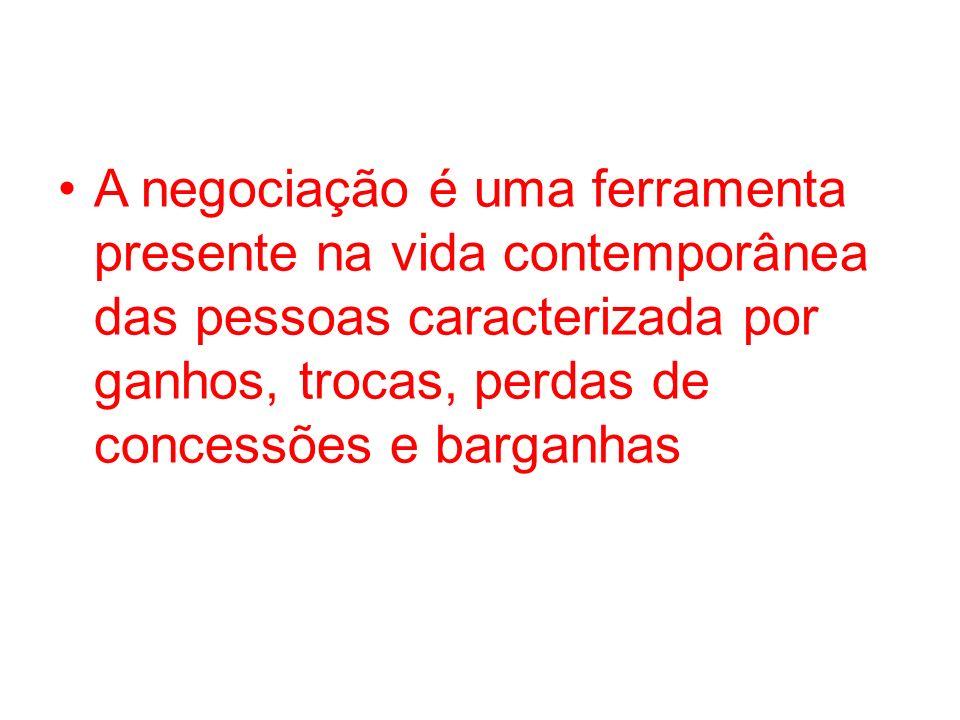 A negociação é uma ferramenta presente na vida contemporânea das pessoas caracterizada por ganhos, trocas, perdas de concessões e barganhas