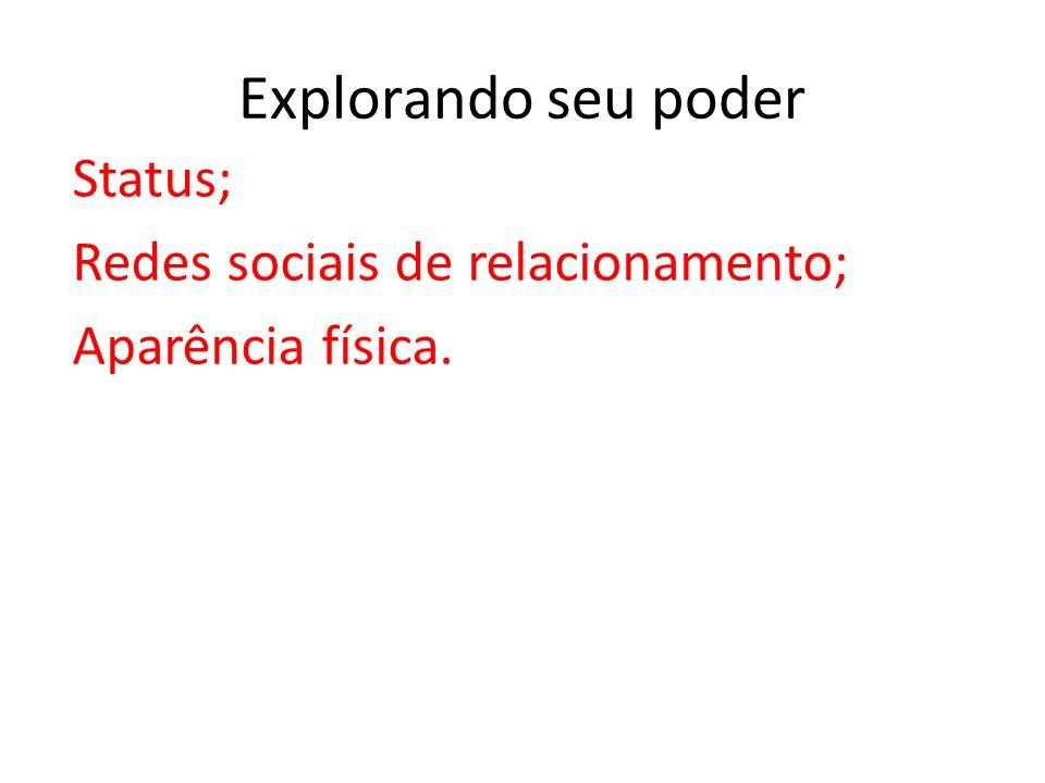 Explorando seu poder Status; Redes sociais de relacionamento; Aparência física.