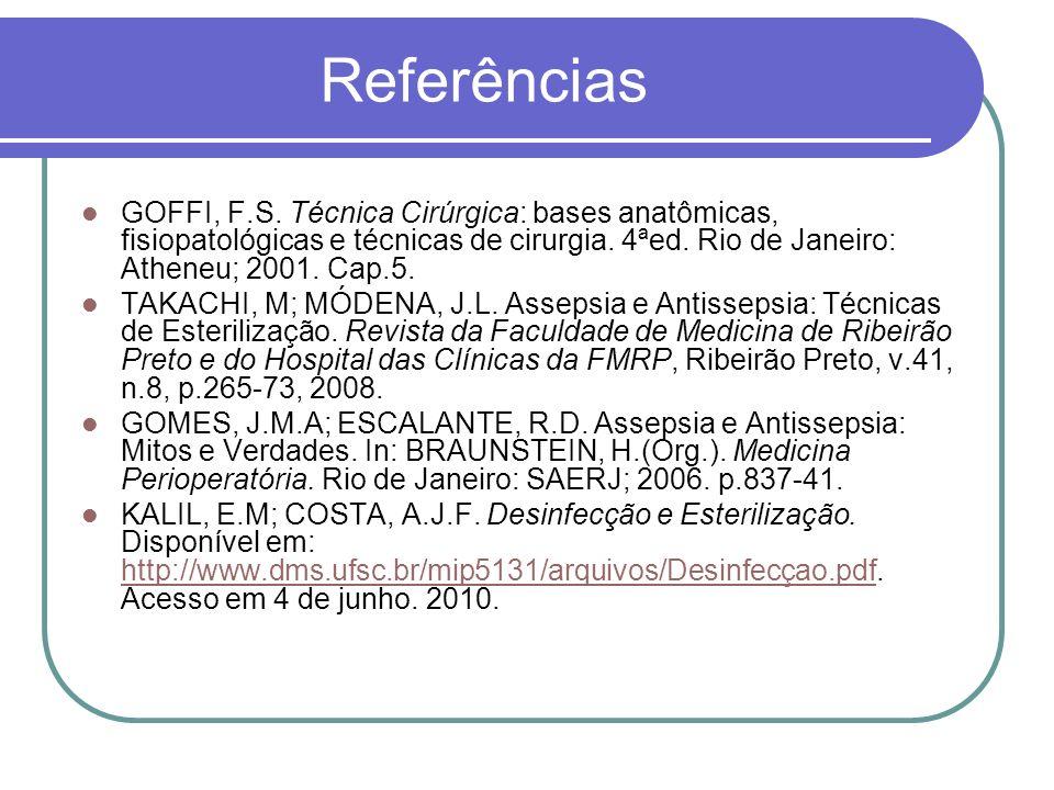 Referências GOFFI, F.S. Técnica Cirúrgica: bases anatômicas, fisiopatológicas e técnicas de cirurgia. 4ªed. Rio de Janeiro: Atheneu; 2001. Cap.5. TAKA