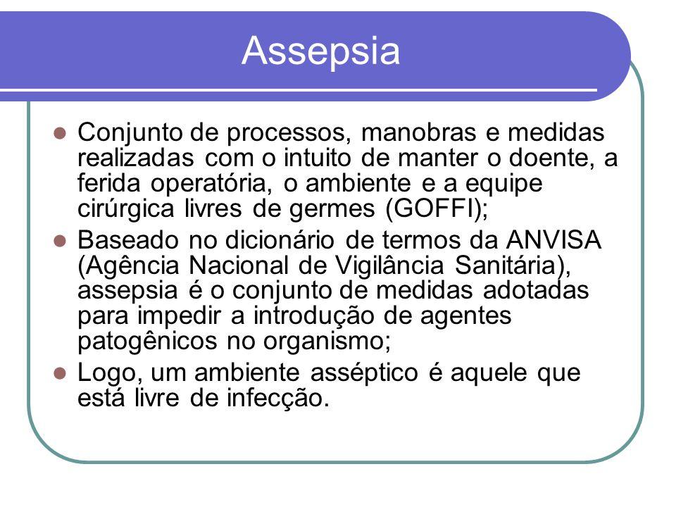 Assepsia Conjunto de processos, manobras e medidas realizadas com o intuito de manter o doente, a ferida operatória, o ambiente e a equipe cirúrgica l