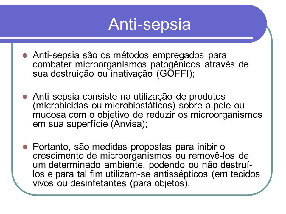 Anti-sepsia Anti-sepsia são os métodos empregados para combater microorganismos patogênicos através de sua destruição ou inativação (GOFFI); Anti-seps