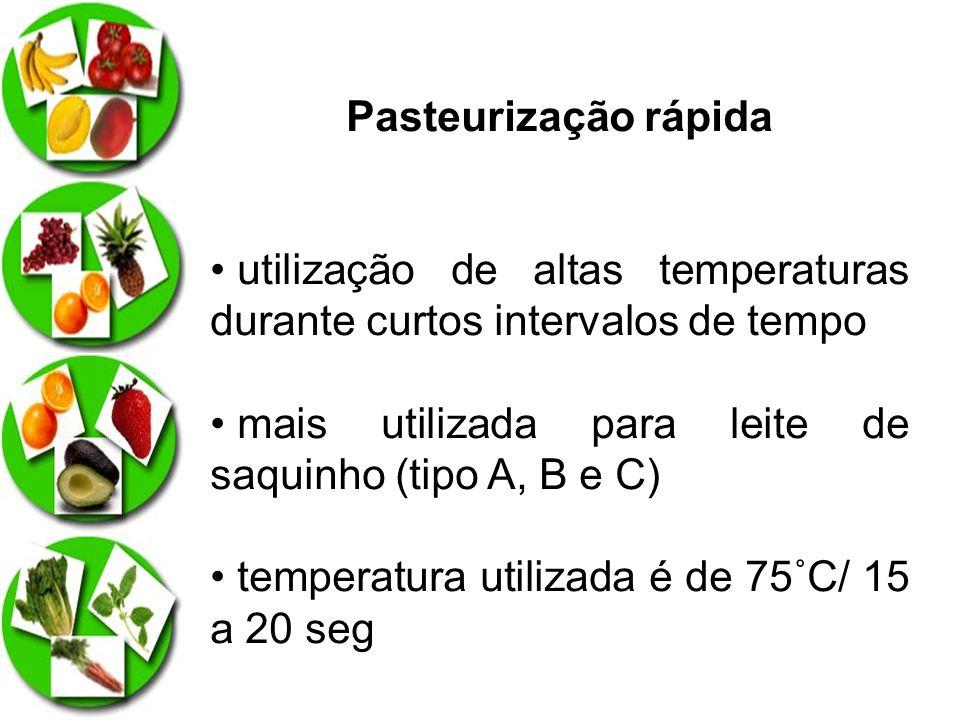Pasteurização rápida utilização de altas temperaturas durante curtos intervalos de tempo mais utilizada para leite de saquinho (tipo A, B e C) tempera