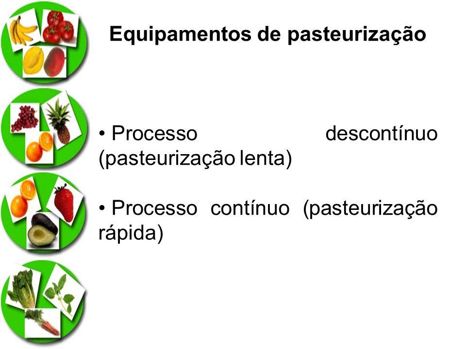 Equipamentos de pasteurização Processo descontínuo (pasteurização lenta) Processo contínuo (pasteurização rápida)