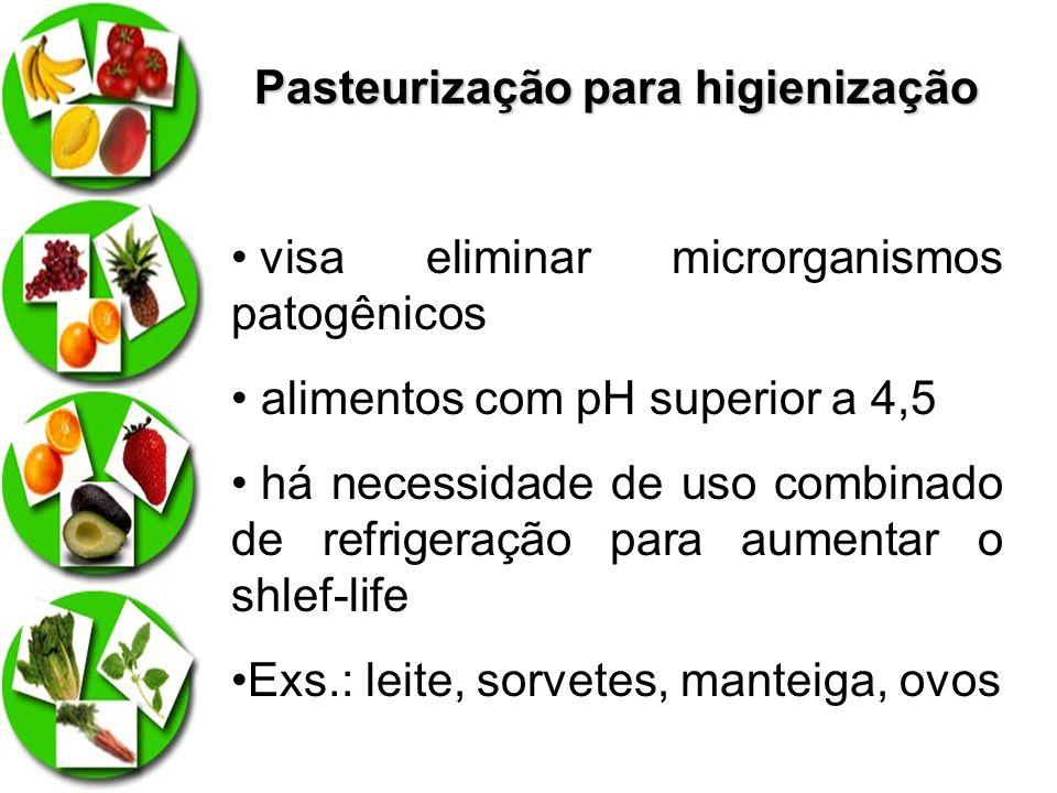 Pasteurização para higienização visa eliminar microrganismos patogênicos alimentos com pH superior a 4,5 há necessidade de uso combinado de refrigeraç