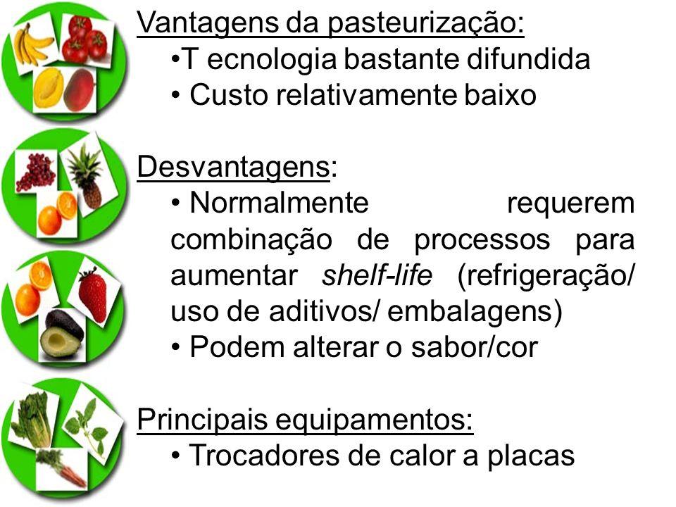 Vantagens da pasteurização: T ecnologia bastante difundida Custo relativamente baixo Desvantagens: Normalmente requerem combinação de processos para a
