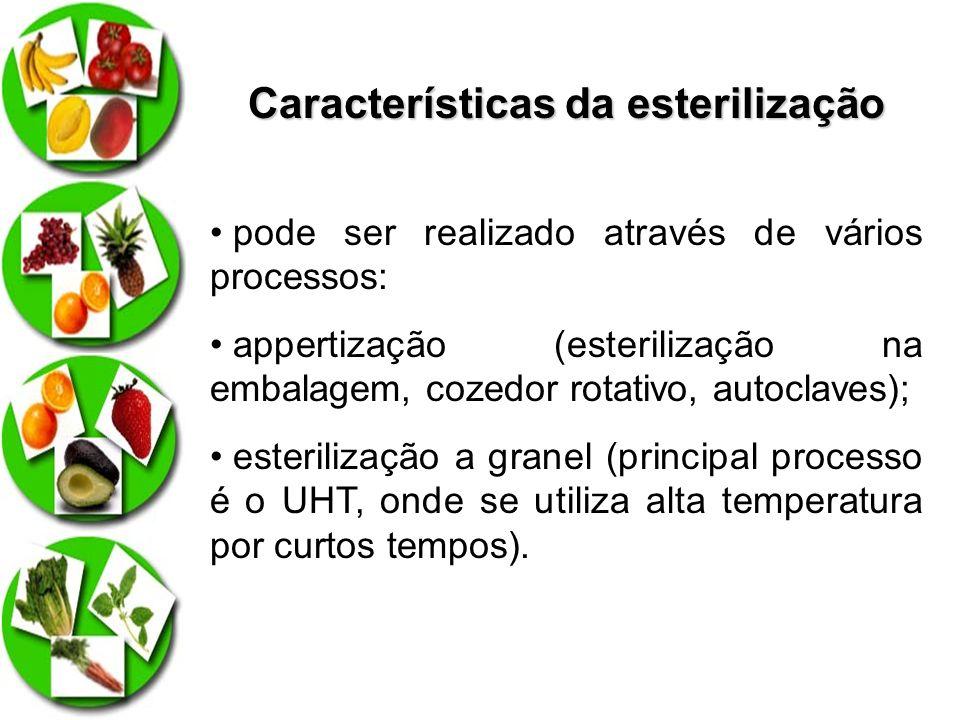 Características da esterilização pode ser realizado através de vários processos: appertização (esterilização na embalagem, cozedor rotativo, autoclave